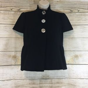 Michael Kors Black Peplum Short Sleeve Jacket Top